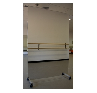 glassless mirror on rolling stand for dance studios